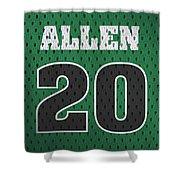 Ray Allen Boston Celtics Retro Vintage Jersey Closeup Graphic Design Shower Curtain