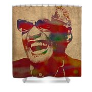 Ray Charles Watercolor Portrait On Worn Distressed Canvas Shower Curtain