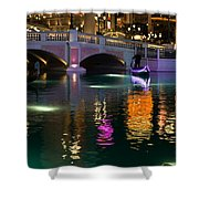 Razzle Dazzle - Colorful Neon Lights Up Canals And Gondolas At The Venetian Las Vegas Shower Curtain