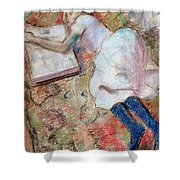 Reader Lying Down Shower Curtain