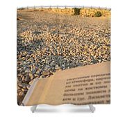 Reading A Book On Pebble Beach Shower Curtain