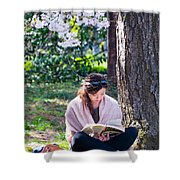 Reading Beneath The Cherry Blossoms Shower Curtain