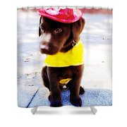 Fire Pup Ready To Roll Shower Curtain