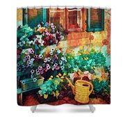 Ready To Water The Garden Oil Painting Shower Curtain