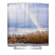 Real Rainbow Over The River Shower Curtain