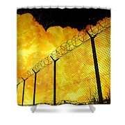 Realistic Fiery Explosion Behind Restricted Area Barbed Wire Fence Shower Curtain