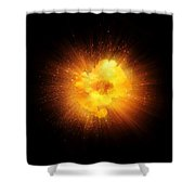 Realistic Fiery Explosion, Orange Color With Sparks Isolated On Black Background Shower Curtain