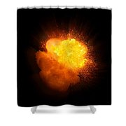 Realistic Fire Explosion, Orange Color With Smoke And Sparks Shower Curtain