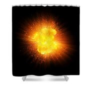 Realistic Fire Explosion, Orange Color With Sparks Isolated On Black Background Shower Curtain