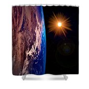 Realistic Illustration Of Earth And Sun Shower Curtain