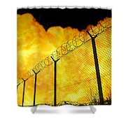 Realistic Orange Fire Explosion Behind Restricted Area Barbed Wire Fence, Blurred Background Shower Curtain