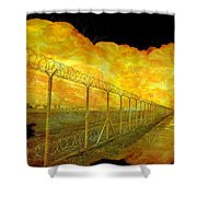 Realistic Orange Fire Explosion Behind Restricted Area Barbed Wire Fence Shower Curtain