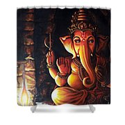 Portrait Of Lord Ganapathy Ganesha Shower Curtain