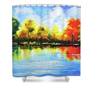 Realm Of Serene- Original Painting Shower Curtain