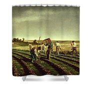 Reaping Sainfoin In Chambaudouin Shower Curtain by Pierre Edmond Alexandre Hedouin
