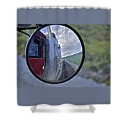 Rear View Mirror Of Alaska's Haul Road Shower Curtain