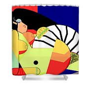 Reclining Nude In Blue And Red Shower Curtain