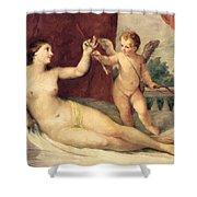 Reclining Venus With Cupid Shower Curtain