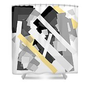 Rectangles With Yellow Accent Shower Curtain