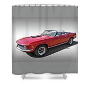 Red 1970 Mach 1 Mustang 351 Cleveland Shower Curtain