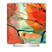 Red Abstract Art - Decadence - Sharon Cummings Shower Curtain