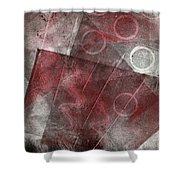 Red And Black Abstract Monoprint Shower Curtain