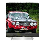 Red And Black Lancia Fulvia Shower Curtain