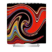 Red And Black Stream  Shower Curtain