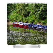 Red And Blue Boats On The River Coquet Shower Curtain