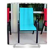 Red And Blue Chairs Shower Curtain