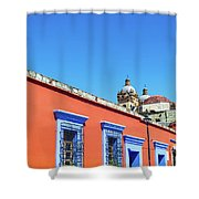 Red And Blue Colonial Architecture Shower Curtain