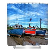 Red And Blue Fishing Boats Tenby Port Shower Curtain