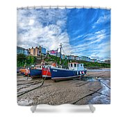 Red And Blue Fishing Trawler In Low Tide Shower Curtain