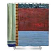 Red And Blue Study Shower Curtain by Michelle Calkins