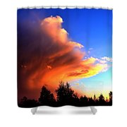 Red And Blue Sunset Shower Curtain