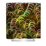 Red And Green Half Circle Lights Abstract Shower Curtain