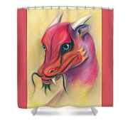 Red And Orange Asian Dragon Shower Curtain by MM Anderson