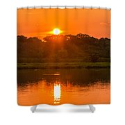 Red And Orange Jungle Sunset Shower Curtain