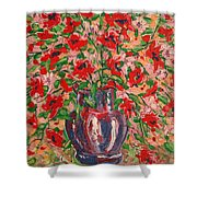 Red And Pink Poppies. Shower Curtain