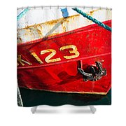 Red And White Boat Detail Shower Curtain