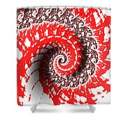 Red And White Fractal Shower Curtain