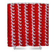 Red And White Knit Shower Curtain