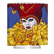 Red And Yellow Carnival Jester Shower Curtain