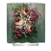 Red And Yellow Flowers Shower Curtain