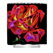 Red And Yellow Rose Fractal Shower Curtain
