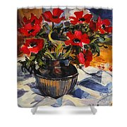 Red Anemones Shower Curtain