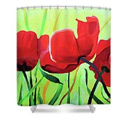 Red Anemonies Shower Curtain
