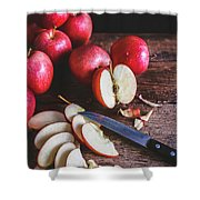 Red Apple Slices Shower Curtain