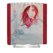 Red Apple Tree Winter Art Shower Curtain
