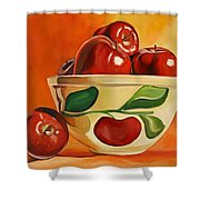 Red Apples In Vintage Watt Yellowware Bowl Shower Curtain